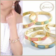 ブレスレット ブレス バングル パステル ストーン Luxurys ゴールド