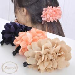 ■ バナナクリップ ヘアアクセサリー フラワー 上品 Luxurys ピンク ベージュ ネイビー お花