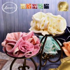 【 メール便 送料無料 】 シュシュ ヘアゴム ヘアアクセサリー ヘアアクセ 花 バラ 薔薇 フラワー ローズ リボン Luxurys パステル 大人