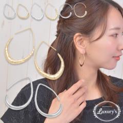 ピアス 真鍮製 ティアドロップ フック メタル シンプル Luxurys ゴールド シルバー 涙型