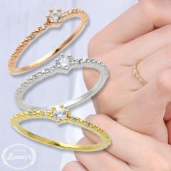 リング 指輪 ピンキーリング キュービック ジルコニア シンプル 上品 お呼ばれ Luxurys ゴールド シルバー ピンクゴールド