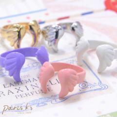 天使の羽根 リング 指輪 モチーフ パーツ ホワイト ピンク パープル ゴールド シルバー