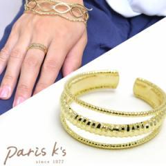 【 メール便 送料無料 】 リング レディース 3連 ゴールド シンプル メタル デザイン 指輪 フリーサイズ