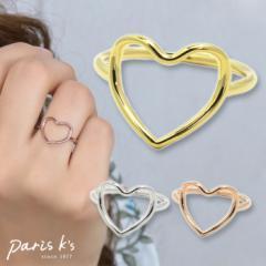 【 メール便 送料無料 】 リング 指輪 フレーム ハート ライン シンプル 10号  ゴールド シルバー ピンクゴールド 可愛い