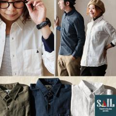 (セイル) SAIL 長袖 日本製  無地 シャツ ワンポイント ソフトリネン コットンオックス
