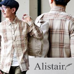 (アリステア) ALISTAIR 長袖 シャツ ボタンダウン 綿 麻 ストレッチ パナマ織り 厚手 刺繍