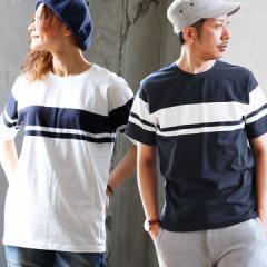 (ジーアールエヌ) grn 半袖 Tシャツ 2ライン 編み柄 デザイン ボーダー 綿100% カジュアル