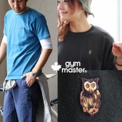 (ジムマスター) gymmaster 半袖 Tシャツ 【フクロウ ワッペン】刺繍 ピグメント加工 綿100%