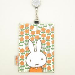 ミッフィー リール付パスケース (定期入れ) オレンジ フラワー アイボリー (miffy)