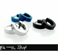 ステンレスリングピアス シンプルカラーが使いやすいフープピアス シルバー ブラック ブルーの3色サージカルステンレス[316L]