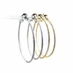 大ぶりフープピアス ロープのようなねじり模様を刻んだリングピアスシルバー ゴールドの2色 チタン製ポストで低アレルギーで安心!
