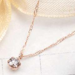 ダイヤモンドネックレス K10 ピンクゴールド スクリューチェーン 本物の輝きで胸元を華やかに 小さなチャーム  デイリーアクセサリー