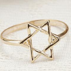 リング 指輪 ピンキーリング 六芒星 極細リング シンプル ゴールド 肌なじみがいい