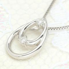 送料無料 2つの雫が重なり合うとき・ダイヤモンド・ティアドロップモチーフネックレス
