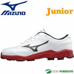 【ジュニア】ミズノ ジュニアモデル ゴルフシューズ ホワイト×レッド 51GJ156562【■M■】[Mizuno 子供用 2E EE 靴]