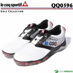 【即納!】ルコックゴルフ ゴルフシューズ メンズ QQ0596 ホワイト×シルバー×ブラック(XN40)ヒールダイヤル式WLS[le coq sportif 靴]