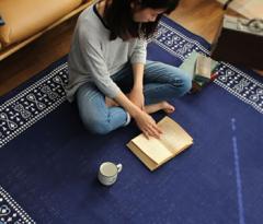 日本製 洗える ラグ マット(176×176cm) 綿混ラグ 洗濯 じゅうたん カーペット ラグ ラグマット モダン リビング 夏用(代引不可)【送料無