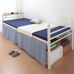 ベッド シングル フレーム 収納 高さ調節 高さ調整 高さが選べる 宮付き 棚付き パイプミドルベッド 【CLEV】クレブ 宮棚あり シングル