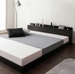 ベッド シングル マットレス付き フロアベッド ローベッド 棚 コンセント付 ボンネルコイルマットレス付き Berge【ベルジュ】(代引不可)