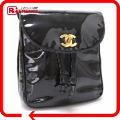あす着 CHANEL シャネル リュックサック デイパック エナメル  鞄 かばん カバン ブラック