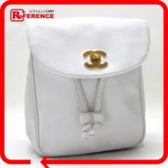 あす着 CHANEL シャネル リュックサック デイパック キャビアスキン  鞄 かばん カバン ホワイト