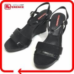 あす着 PRADA プラダ ウェッジソールサンダル プラダスポーツ サンダル レザー/ナイロン レディース 靴