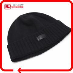 新品同様 あす着 SAINT LAURENT PARIS サンローランパリ ニット帽 帽子 ブラック レディース