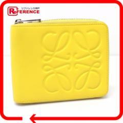 あす着 LOEWE ロエベ ラウンドファスナー札入れ ロゴ型押し 二つ折り財布(小銭入れなし) レザー イエロー