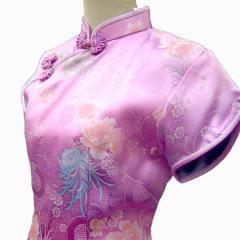 ミニ半袖チャイナドレス【金大花】薄紫×白