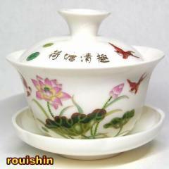 蓋碗 ロータス(睡蓮)(ふた付き湯呑み)【中国茶器】