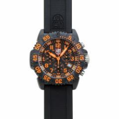 INT-101ルミノックス 3089 ネイビーシールズ カラーマーク クロノ メンズ ブラック&オレンジ/ブラックラバー