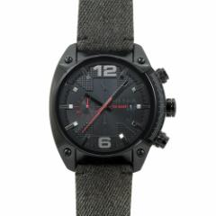 INT-425ディーゼル DZ4373 アドヴァンス オーバーフロー クロノ メンズ ブラック/ブラックデニム  時計/ウォッチ