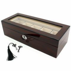 ウォッチBOX/収納ケース (5本・鍵付) 木製  SW-2030:ブラウン  時計/ウォッチ