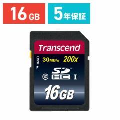 SDカード 16GB Class10 最大30MB/s 永久保証 Trancend トランセンド SDHCカード [TS16GSDHC10]