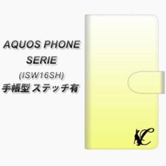 メール便送料無料 au AQUOS PHONE ISW16SH 手帳型スマホケース【ステッチタイプ】【YI844 イニシャル ネコ C】(アクオスフォン/スマホケ