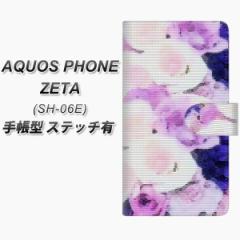 メール便送料無料 docomo AQUOS PHONE ZETA SH-06E 手帳型スマホケース【ステッチタイプ】【YI889 フラワー10】(アクオスフォンZETA/SH