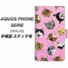 メール便送料無料 au AQUOS PHONE SERIE SHL23 手帳型スマホケース【ステッチタイプ】【SC934 ねこどっと ピンク】(アクオスフォンSERIE/