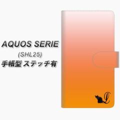 メール便送料無料 au AQUOS SERIE SHL25 手帳型スマホケース【ステッチタイプ】【YI853 イニシャル ネコ L】(アクオス セリエ/SHL25/スマ