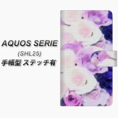 メール便送料無料 au AQUOS SERIE SHL25 手帳型スマホケース【ステッチタイプ】【YI889 フラワー10】(アクオス セリエ/SHL25/スマホケ