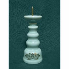 ローソク立 青磁金ハス 4寸(高さ12.6cm) 仏具 仏壇 供養 お供え お盆 お彼岸 せともの 瀬戸物