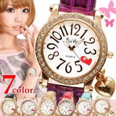 【メール便送料無料】腕時計 レディース かわいい 革ベルト ハートチャーム付き クリスタルベゼル レディース腕時計 [ru-AC-W-ZS3m]