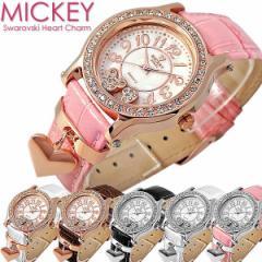 【送料無料】 Disney ディズニー 本牛革 ベルト スワロフスキー ミッキーハートチャーム腕時計 (fa-NFC120029/33)