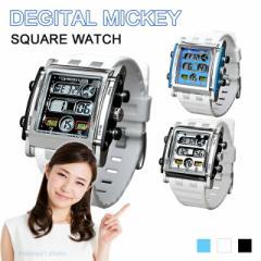【送料無料】 Disney ミッキー スクエア ホワイト ラバーベルト ミッキースクエアデジタルタイプ腕時計 (fa-NFC120004/6)