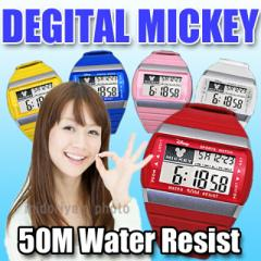 【送料無料】 ディズニー デジタル 防水 ラバーベルト ミッキーカラーデジタルタイプ腕時計 (fa-NFC120017/21)