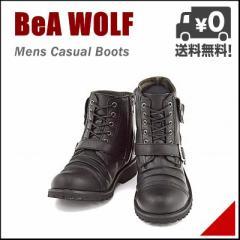 ワークブーツ メンズ カジュアル レースアップ ベルト付き サイドジップ ベアウルフ BeA WOLF IMB-8867 ブラック【メンズバーゲン】