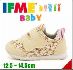 イフミー ベビーシューズ スニーカー 女の子 キッズ ベビー 子供靴 ストラップ 履きやすい 土踏まず形成 IFME 30-7005 ベージュ