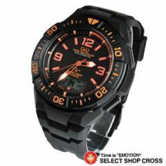 Q&Q メンズ 腕時計 電波ソーラー アナログ 10気圧防水 MD06-315 ブラック×オレンジ