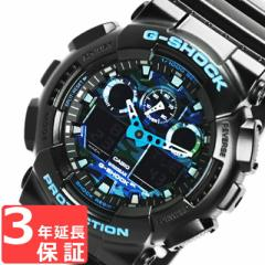 G-SHOCK Gショック CASIO カシオ メンズ アナデジ 腕時計 GA-100CB-1ADR ブラック×ブルー カモフラージュ柄 迷彩 海外モデル
