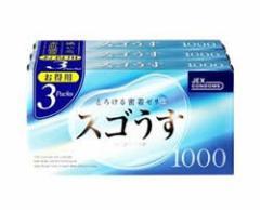 【定形外・送料250円】 【即納!!】売れてマス!!★3個パックでお買い得♪スゴうす 1000×3P 薄型コンドーム  ゴム スキン うすうす