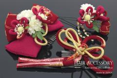 【卒業式の袴にオススメ♪ぽってり和柄縮緬リボンの髪飾りお得な3点セット】赤/振袖/成人式